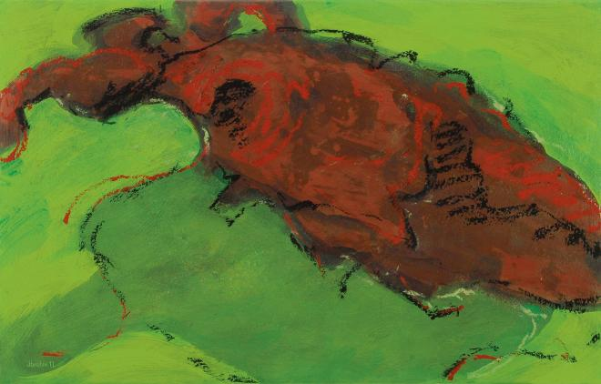 Autoreifen Fragment auf grünem Hintergrund